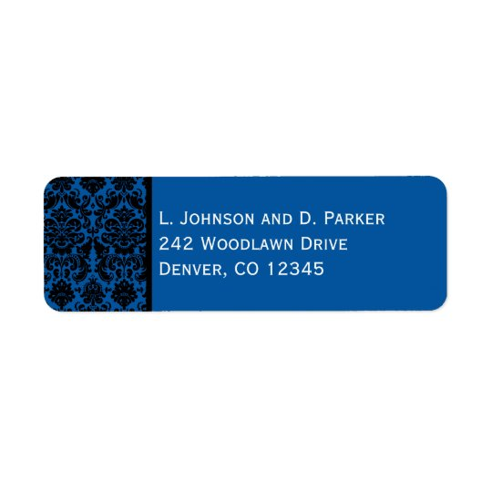 Cobalt Blue and Black Damask Return Address Label