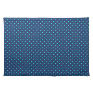 Cobalt Blue And Emerald Small Polka Dots Pattern Placemat