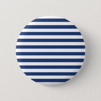 Cobalt Blue And Horizontal White Stripes Pattern 6 Cm Round Badge