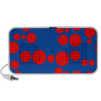 Cobalt Blue and Red Random Polkadot Pattern Travelling Speaker