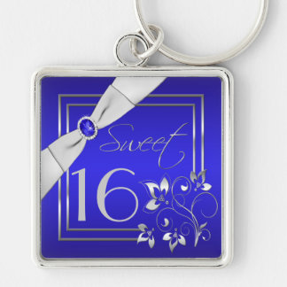 Cobalt Blue and Silver Sweet Sixteen Keychain