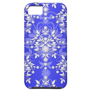 Cobalt Blue and White Daisy Floral Damask iPhone 5 Case