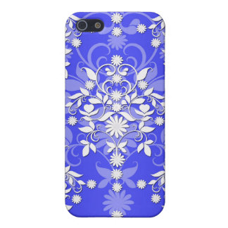 Cobalt Blue and White Daisy Floral Damask Cover For iPhone 5