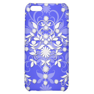 Cobalt Blue and White Daisy Floral Damask iPhone 5C Covers