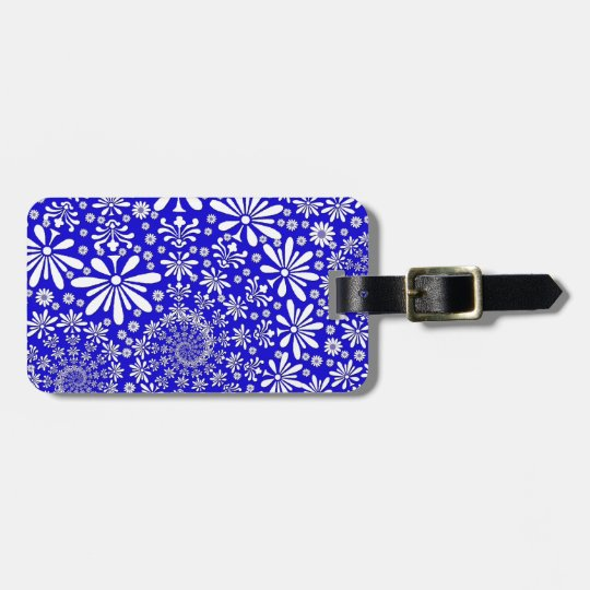 Cobalt Blue and White Floral Pattern Luggage Tag