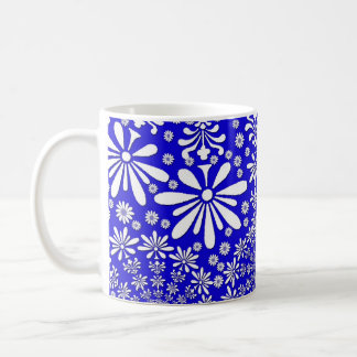 Cobalt Blue and white Fun Floral Pattern Basic White Mug