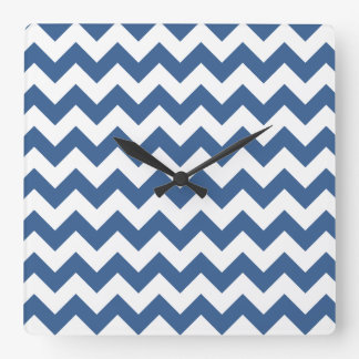 Cobalt Blue And White Striped Chevron Pattern Square Wall Clock