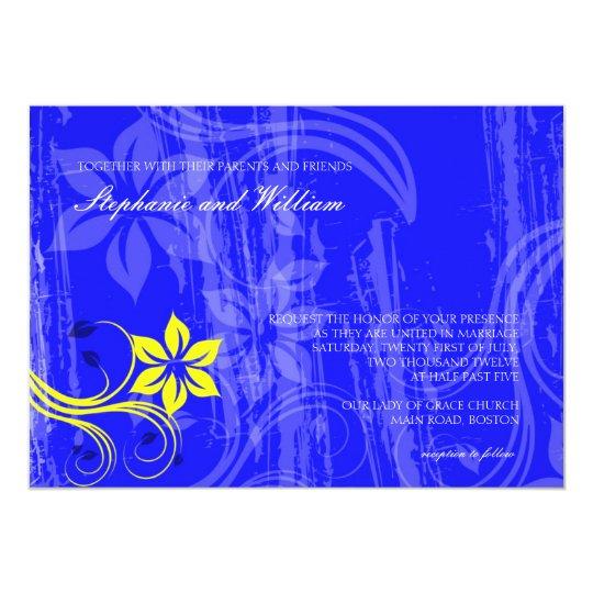 Cobalt Blue and Yellow Swirl Wedding Invitation
