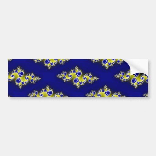 Cobalt Blue and Yellow Swirls Bumper Stickers