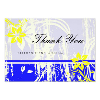 Cobalt Blue and Yellow Wedding Thank You Card 9 Cm X 13 Cm Invitation Card