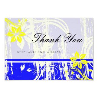 Cobalt Blue and Yellow Wedding Thank You Card 9 Cm X 13 Cm Invitation Card