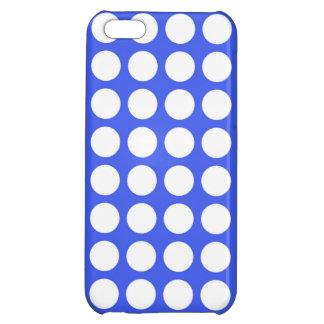 Cobalt Blue Big White Polka Dots iPhone 5C Covers