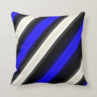 Cobalt Blue, Black and White Diagonal Stripes Cushion