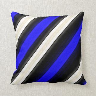 Cobalt Blue, Black and White Diagonal Stripes Throw Cushion