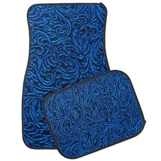 Cobalt Blue Black Vintage Tile Look Floor Mat