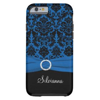 Cobalt Blue, Black, White Damask iPhone 6 case