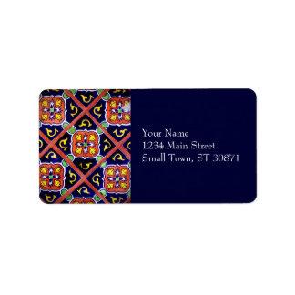 Cobalt Blue Burnt Orange Southwestern Tile Design Address Label