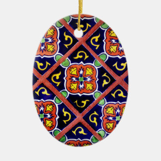Cobalt Blue Burnt Orange Southwestern Tile Design Christmas Ornament