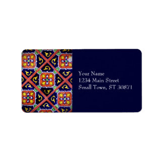Cobalt Blue Burnt Orange Southwestern Tile Design Label