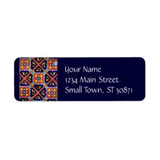 Cobalt Blue Burnt Orange Southwestern Tile Design Return Address Label