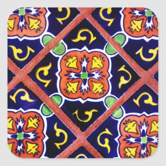 Cobalt Blue Burnt Orange Southwestern Tile Design Square Sticker
