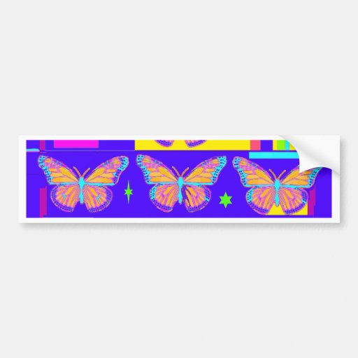 Cobalt Blue Butterfly Art  Collage by Sharles Bumper Stickers