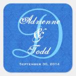 Cobalt Blue Damask Wedding Monogram D323 Square Stickers