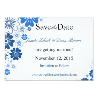Cobalt Blue Flowers Wedding Save the Date 13 Cm X 18 Cm Invitation Card