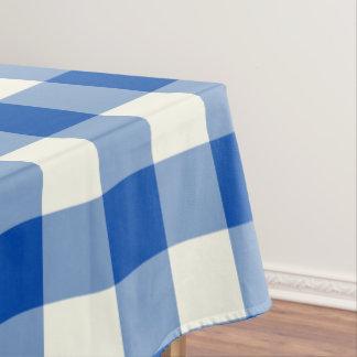 Cobalt Blue Gingham / Buffalo Check Tablecloth
