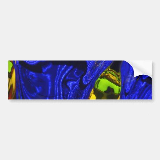 Cobalt Blue Green Yellow Abstract Neon Art Design Bumper Stickers