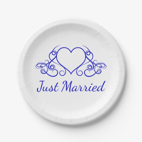 Cobalt Blue Heart Just Married - Wedding Party