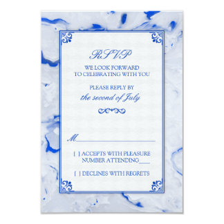 Cobalt Blue Marble Marbled Wedding RSVP Reply Announcement