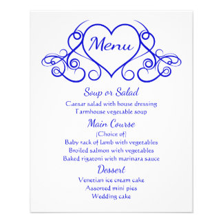 Cobalt Blue Menu Floral Heart Wedding Party 11.5 Cm X 14 Cm Flyer