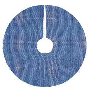 Cobalt Blue Metal Chain Mail Metallic Mediaeval Brushed Polyester Tree Skirt