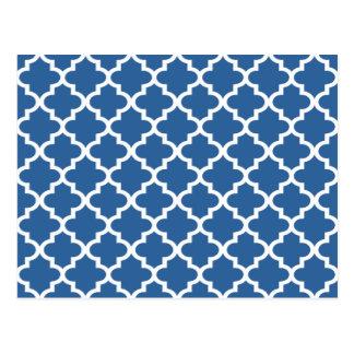 Cobalt Blue Moroccan Tile Trellis Post Card