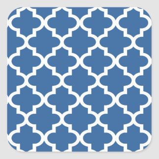 Cobalt Blue Moroccan Tile Trellis Square Sticker