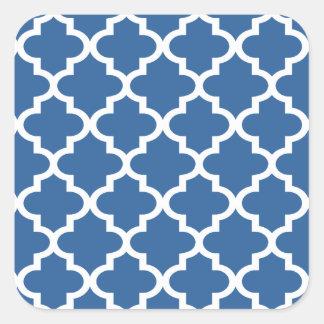 Cobalt Blue Moroccan Tile Trellis Square Stickers