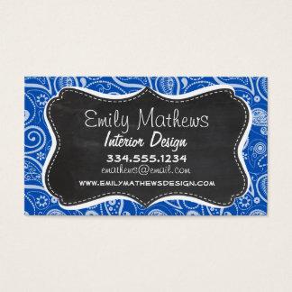 Cobalt Blue Paisley; Vintage Chalkboard Business Card
