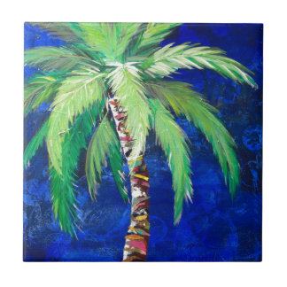 Cobalt Blue Palm II Tile