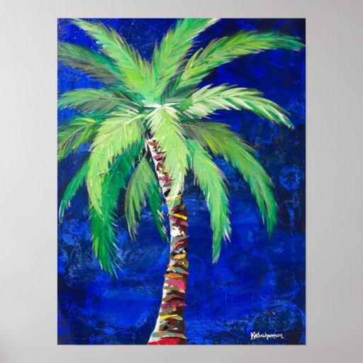 Cobalt Blue Palm Tree poster