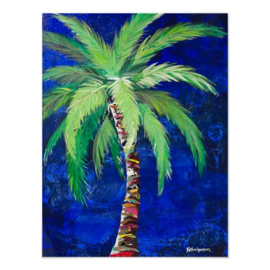 Cobalt Blue Palm Tree poster