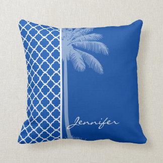 Cobalt Blue Quatrefoil; Palm Cushion