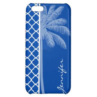 Cobalt Blue Quatrefoil Palm iPhone 5C Cases