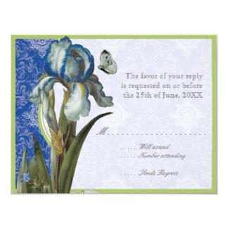 Cobalt Blue Quatrefoil RSVP Responce Cards 11 Cm X 14 Cm Invitation Card