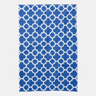 Cobalt Blue Quatrefoil Trellis Pattern Kitchen Tow Tea Towel