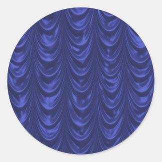 Cobalt Blue Satin Fabric with Scalloped Texture Round Sticker