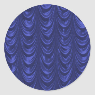 Cobalt Blue Satin Fabric with Scalloped Texture Round Stickers