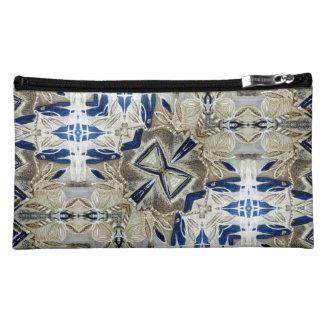 Cobalt blue silver gold Wristlet or make up bag