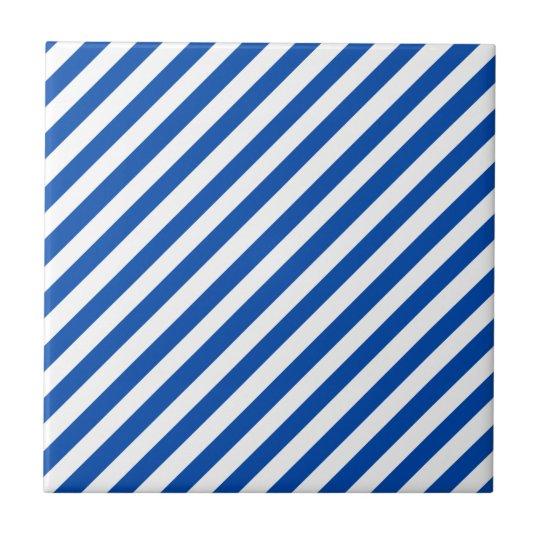 Cobalt Blue Solid Colour & White Stripes Tile