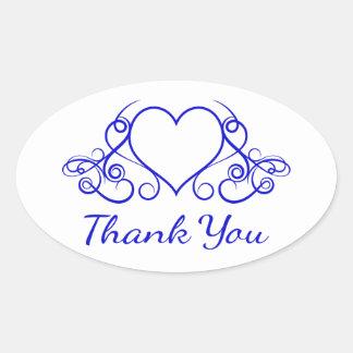 Cobalt Blue Thank You Heart Floral Wedding Oval Sticker
